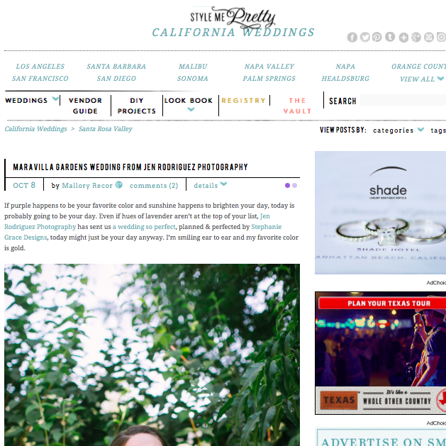 Maravilla Gardens Wedding | Style Me Pretty Oct. 8, 2013- Read Article