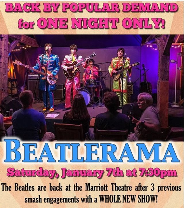 Only a few tickets left for our performance at the @marriotttheatre on January 7th! Call box office at 847-634-0200 #beatlerama #theatre