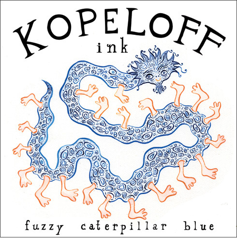 Fuzzy Caterpillar Blue Colored Ink Logo