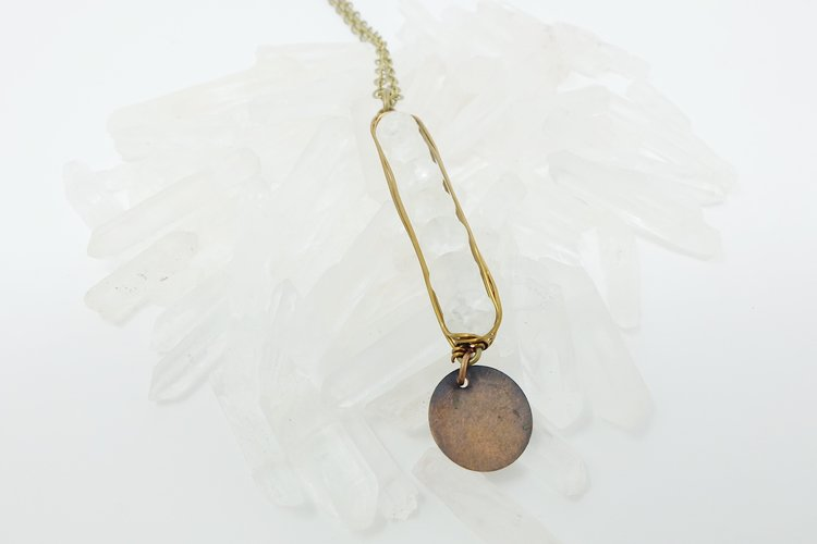 Wire Wrapped Stone Necklace- White Opaque — Sparrow\'s Eave
