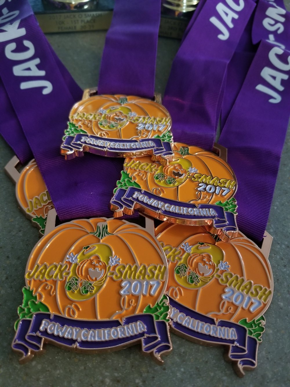 2017 Jack O Smash Finisher Medals for the 10K and 5K racers!