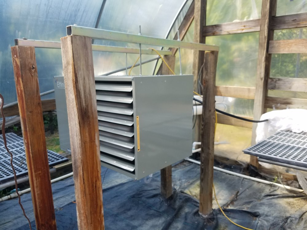 New heater installed inside one of Bluff Mountain Nursery's greenhouses.