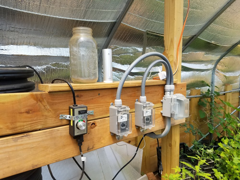 Controls for the geothermal heating system inside the greenhouse.