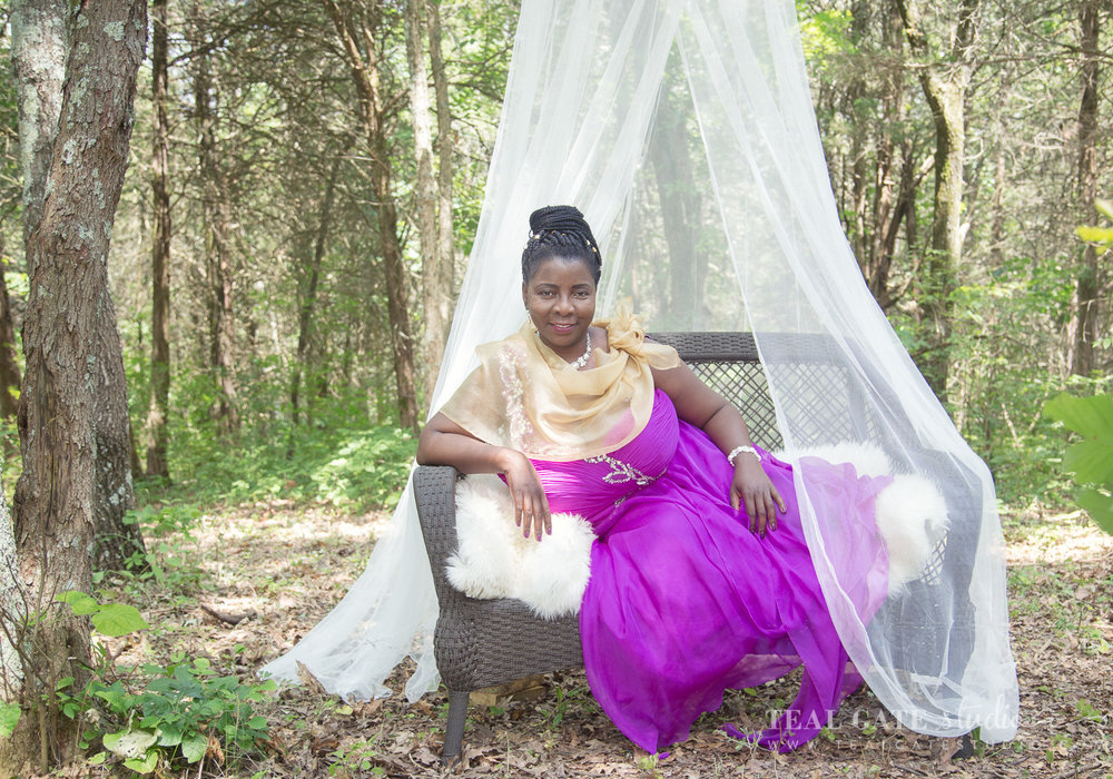 Fran wore her gorgeous gown for a portrait in the woods