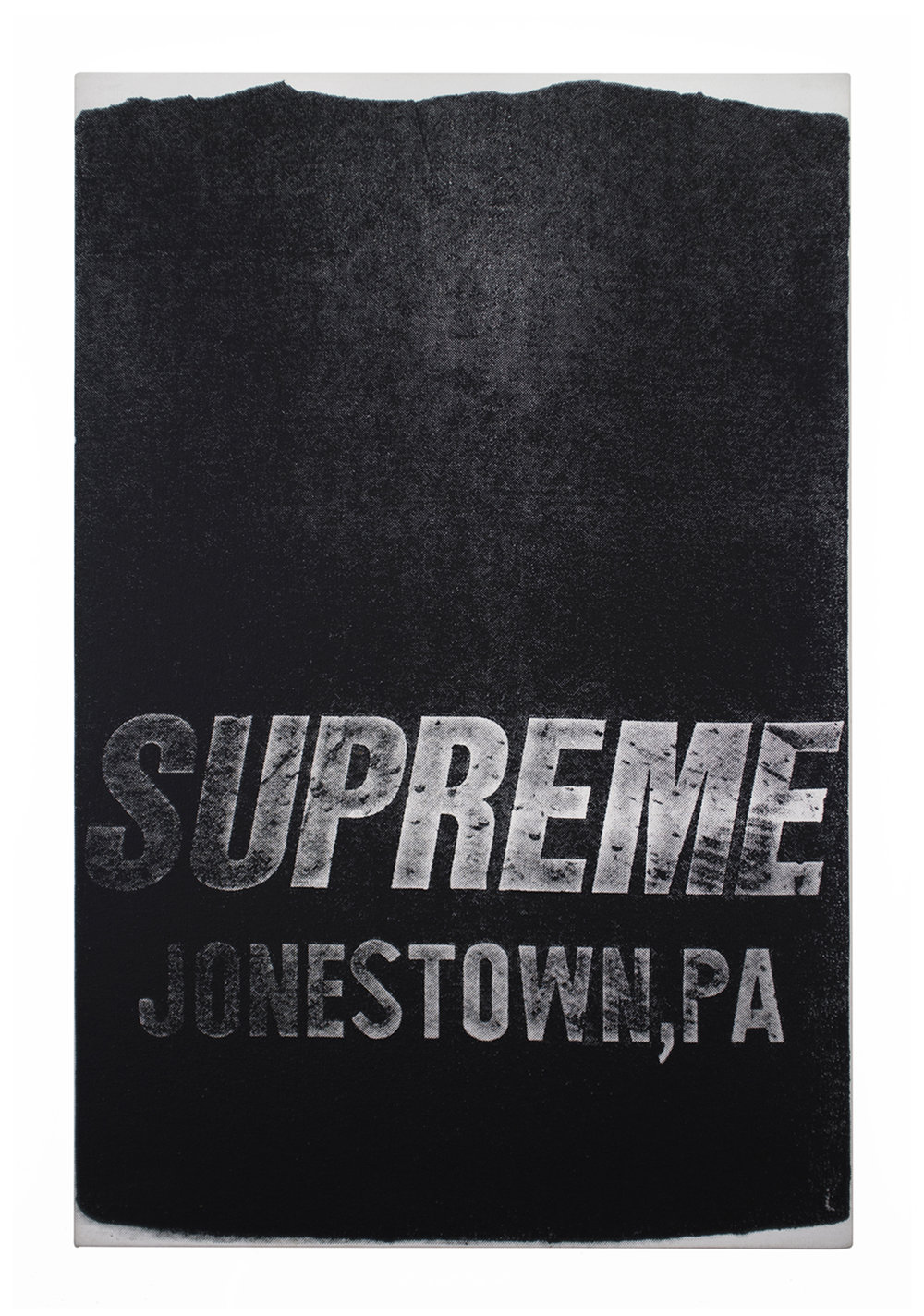 supreme 2016 acrylic and silkscreen medium on canvas 30x20 in 2016