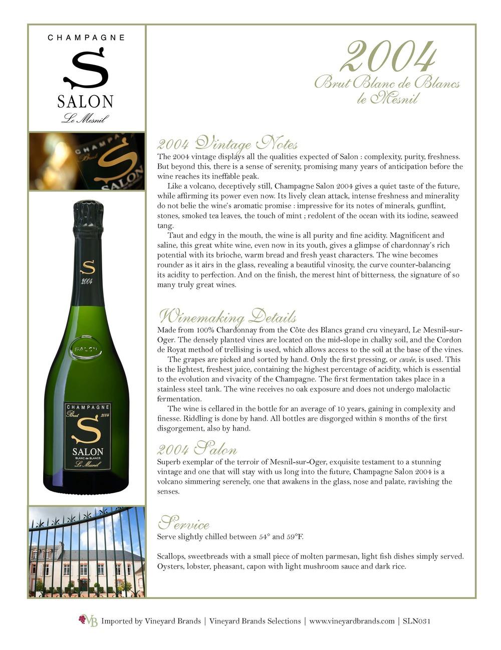 2004 Salon Blanc de Blancs Release — Vineyard Brands
