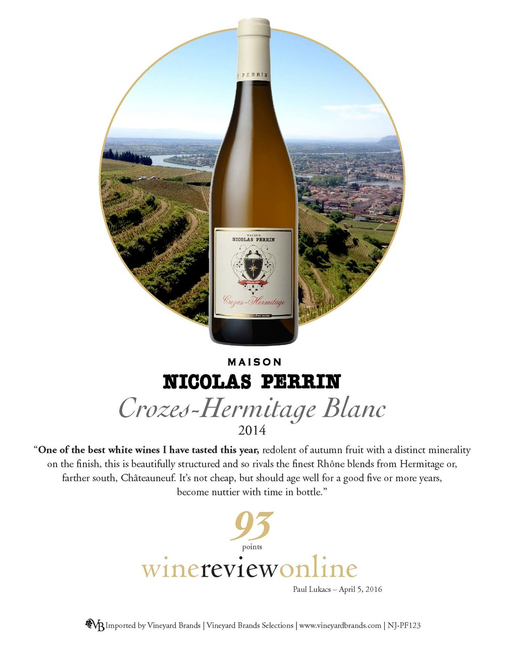 Nicolas Perrin Crozes-Hermitage Blanc 2014