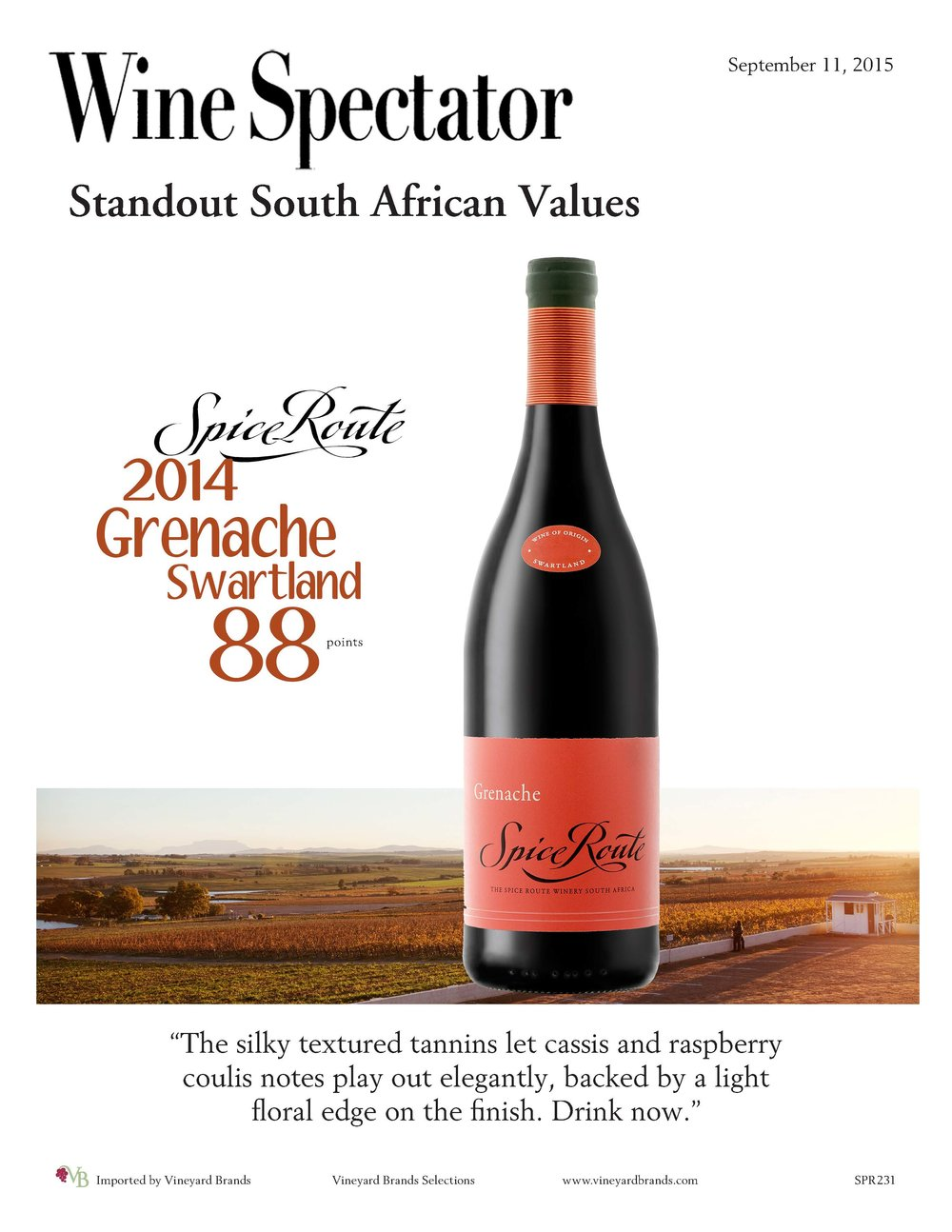Spice Route South African Grenache Wine