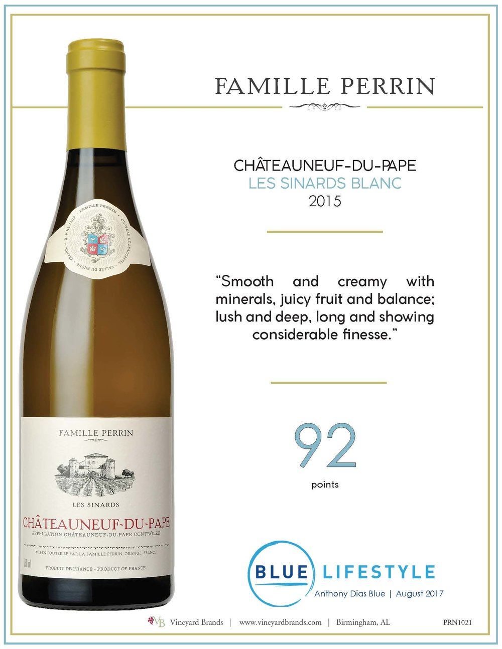 Famille Perrin Chateauneuf du Pape Les Sinards Blanc 2015.jpg