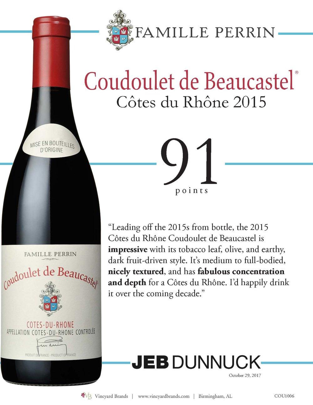 Famille Perrin Coudoulet de Beaucastel Cotes du Rhone 2015.jpg