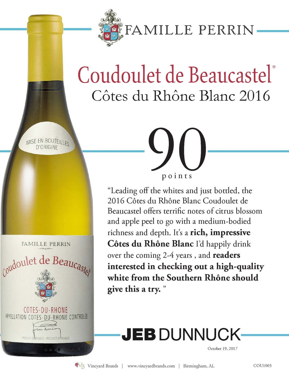 Famille Perrin Coudoulet de Beaucastel Cotes du Rhone Blanc 2016.jpg