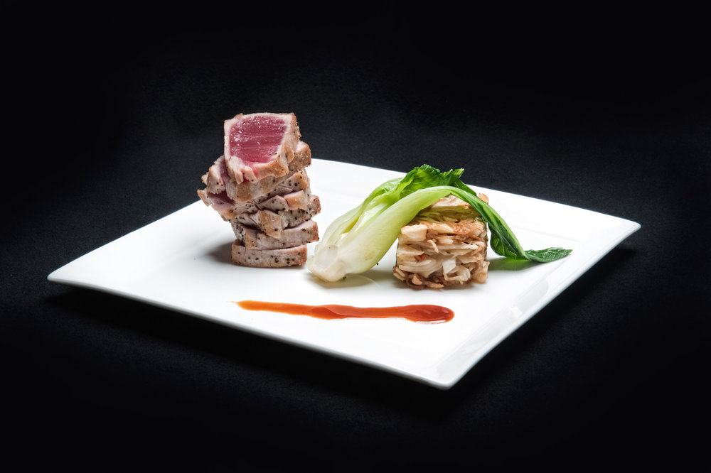 Seared Ahi tuna with baby Bok Choy