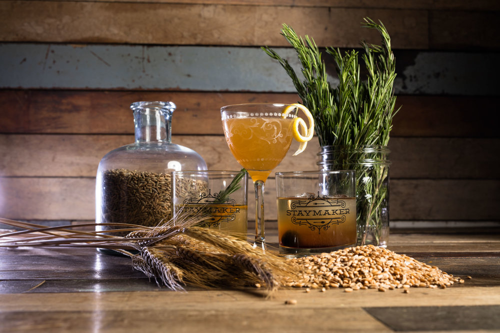 Journeyman Whiskey sour on wood table with grain