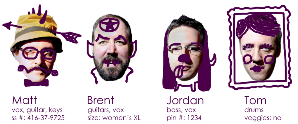 MATT                                                BRENT                                                   JORDAN                                            TOM                vox, guitars, keys                             guitars, vox                                            bass, vox                                           drums               ss#: 416-37-9132                              size: women's XL                                   pin #: 1234                                         veggies: no