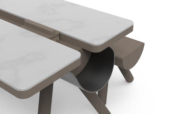 Der neue Fra-Thin Tisch von Matteo Ragni wurde mit Feinsteinzeug von Ceramiche Refin umhüllt © by Ceramiche Refin