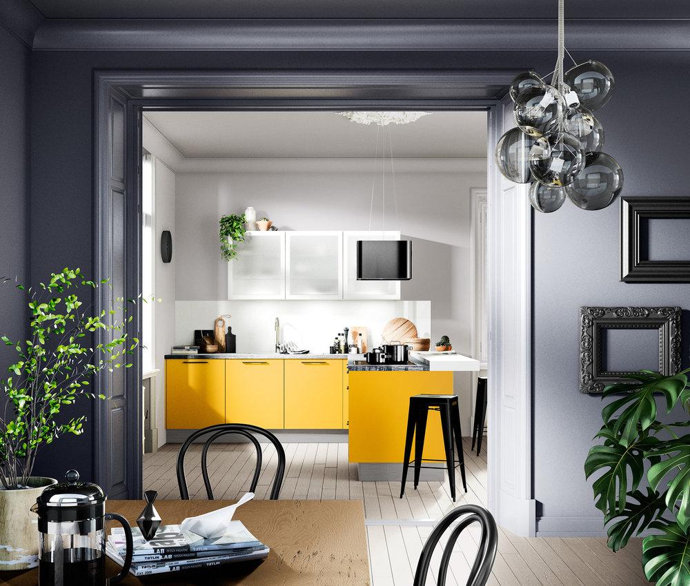 Gute Laune bekommt man bereits am Morgen in dieser Singleküche in fröhlichem Gelb. (Foto: AMK)