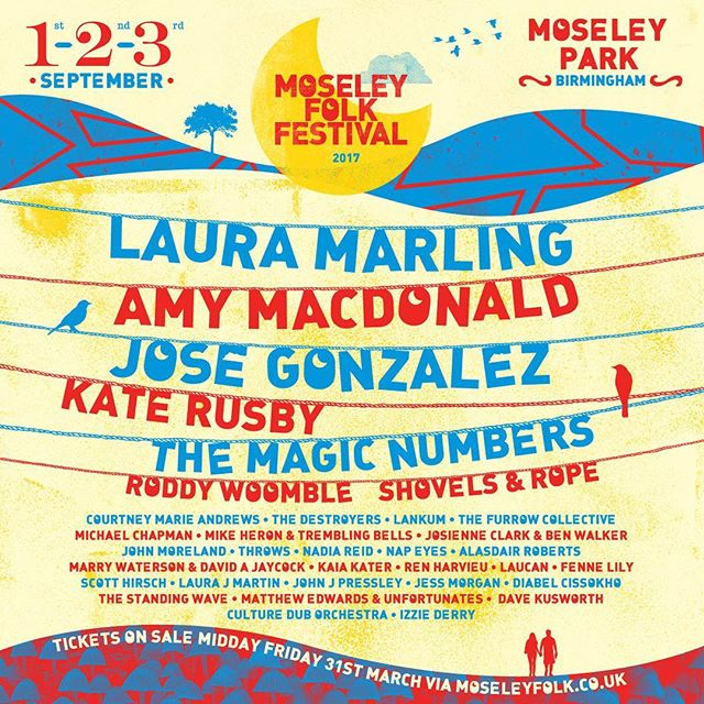 Ecstatic to be playing the @moseleyfolkfestival in Moseley UK this September in a lineup with @lauramarling, @jose.gonzalez__ & more! Tickets will be going on sale on Friday 31st March at midday ☀️☀️☀️☀️#moseleyfolkfestival #factorfunded