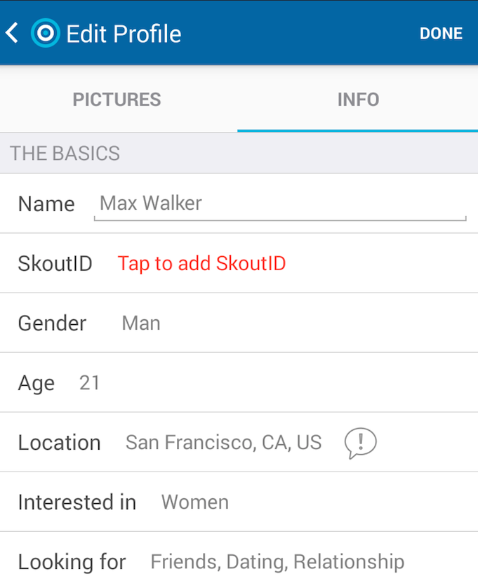 How to change location on skout app