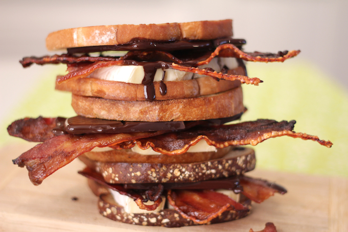 Dark Chocolate and Maple-Glazed Bacon Grilled Brie Sandwich recipe created exclusively for Skout by George Duran.