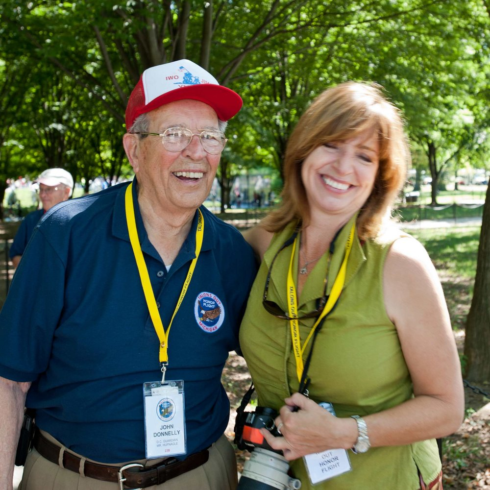 My dad a WW2 Marine with Kakamazoo Honor Flight  DC 2014 .  Great last year for an amazing man.
