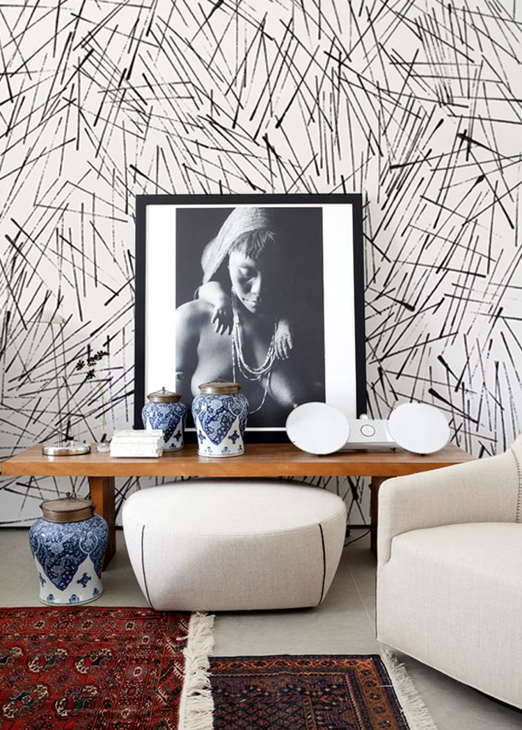 Clean Cut print in Onyx over Ivory installed in a Hollywood Hills home.