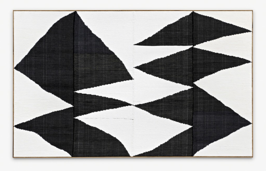 Alignment #47 , 2014  Hand woven fibers, wool, cotton and acrylic on canvas  65 87/100 × 107 9/10 in  167.3 × 274.1 cm