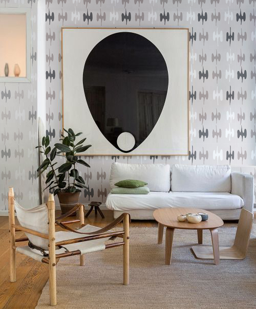 syz·y·gy print in neutral tone Colorway in San Francisco, CA living room.