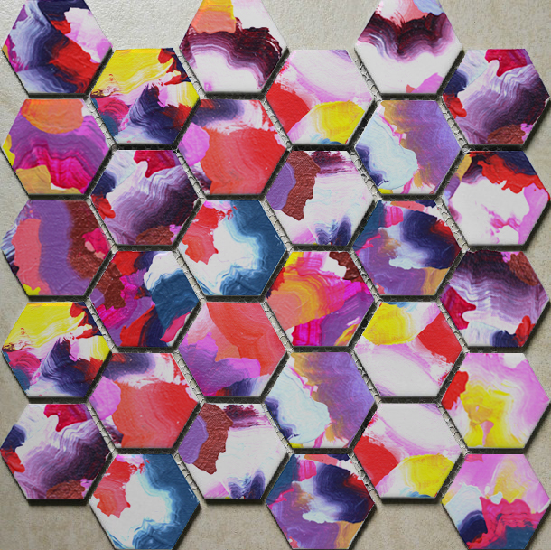 Custom Hand-painted hexagon tiles in PRIMARY ACID color way detail.