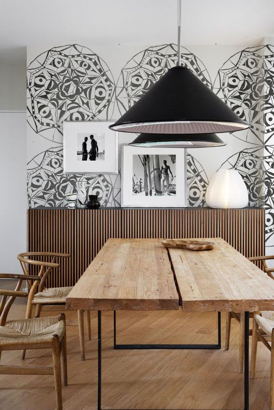 MEDALLION PRINT in a rustic modern Venice, CA dining room.