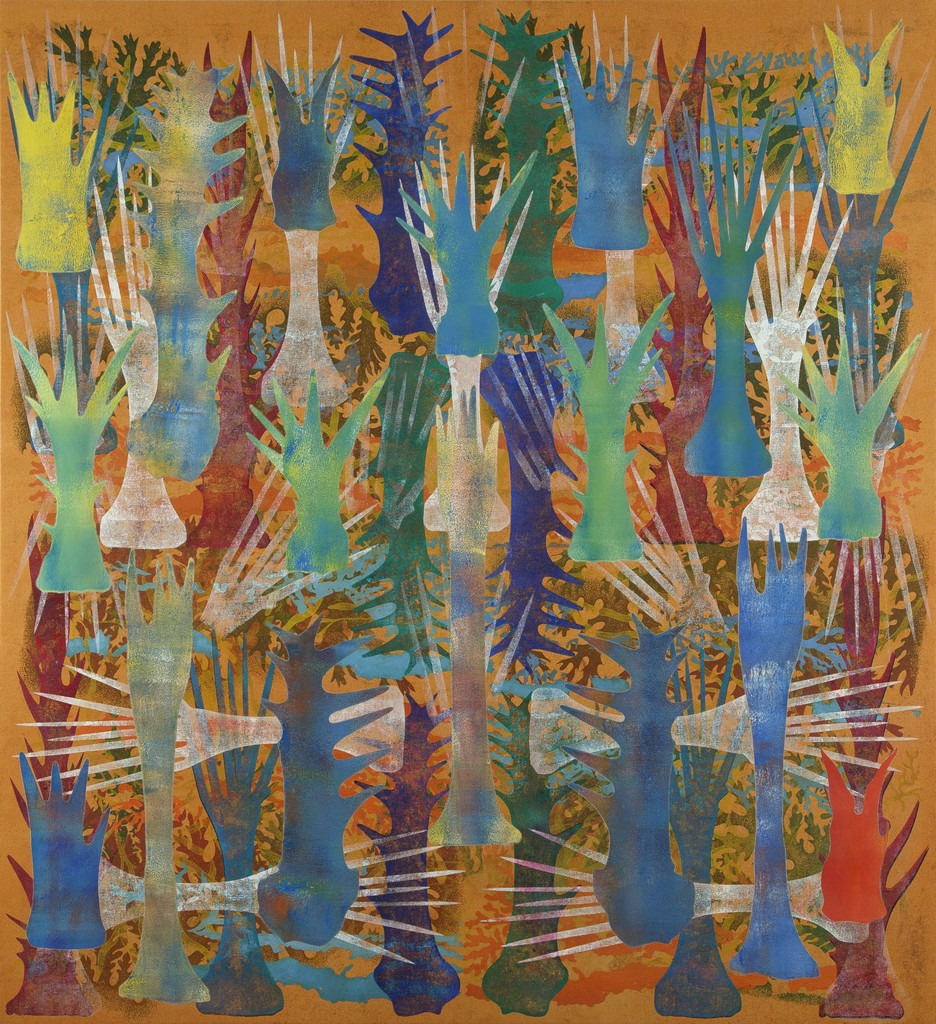 Ophiuran, Prismatic , 2014   Mixed media on canvas  76 1/2 × 70 in  194.3 × 177.8 cm