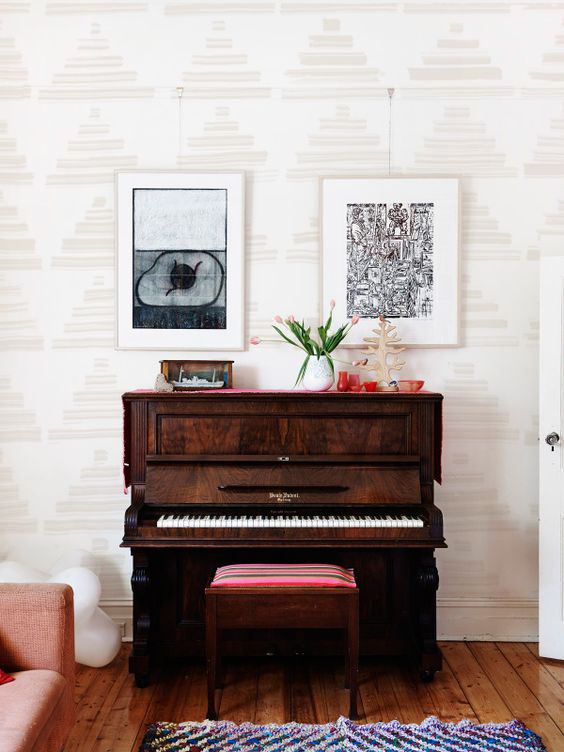 MOMENTO MORI PRINT in Cream over Ivory in Sundance living room..