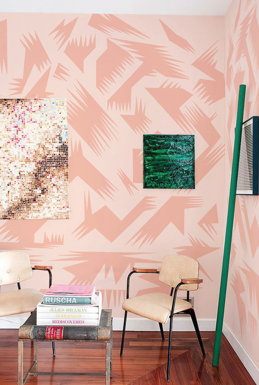 GENERES PRINT in Pink over Salmon colorway in Santa Monica studio apartment.