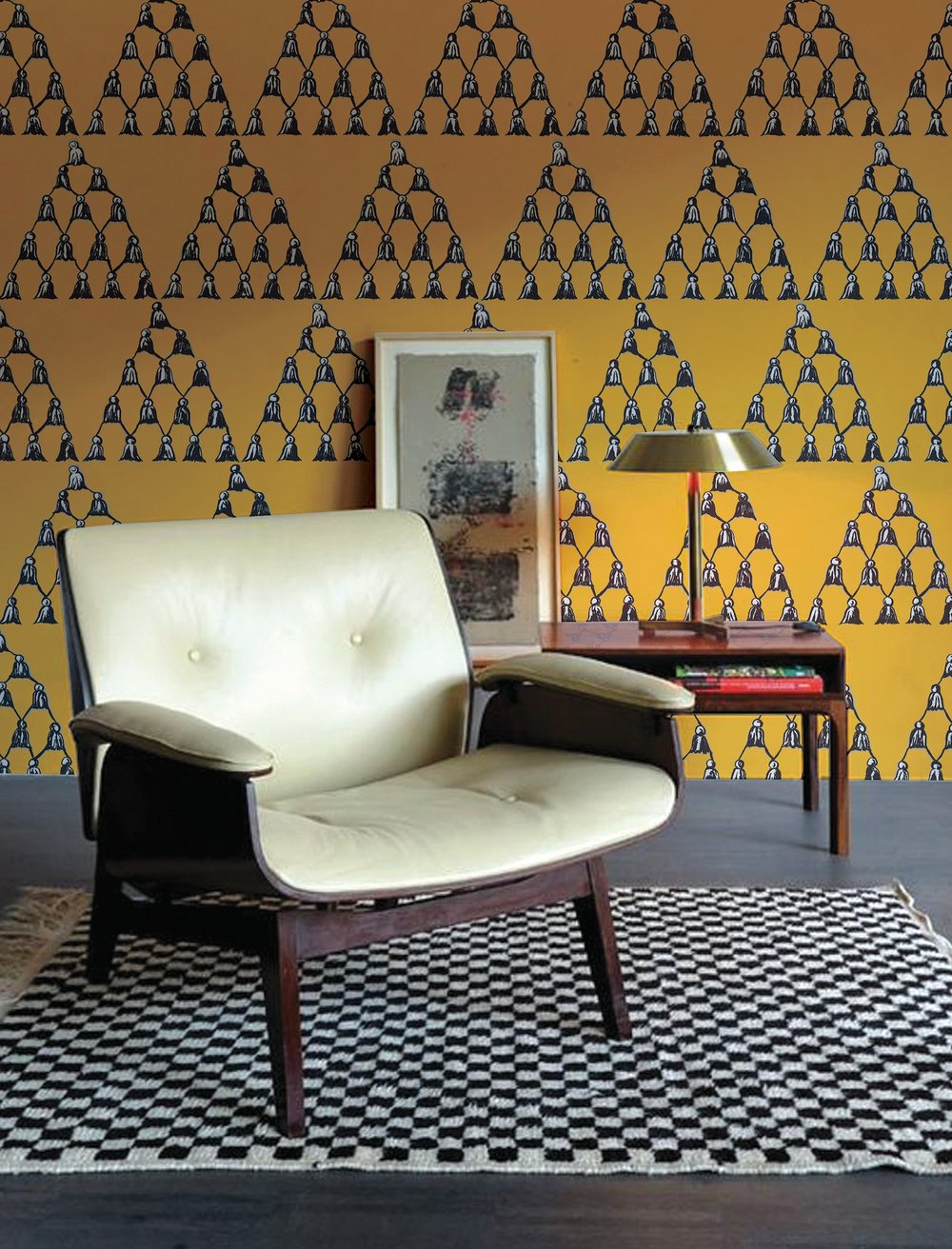 CHE FIGATA PRINT in the deep ochre color way in a Topanga Canyon bungalow.