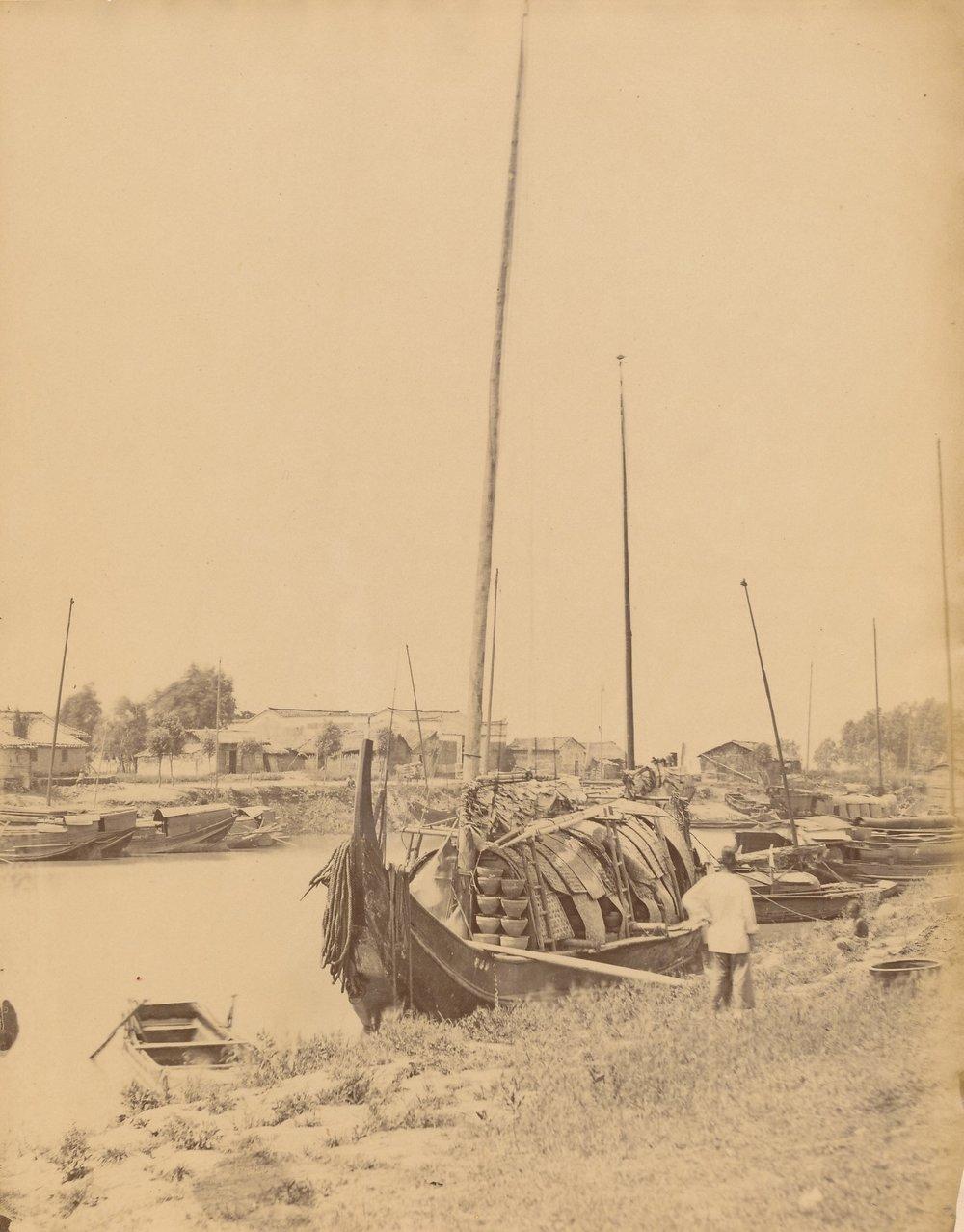 Dr John Dudgeon (1837 – 1901): Spawn Boats Kiukiang ( JiuJiang ) China. Albumen Print C1865. Size 24 x 18.5 cm