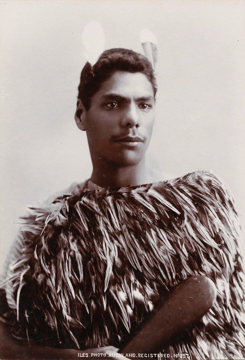 Iles: Maori with Patu. New Zealand, c.1895. Silver Gelatin Silver Print, 19.5 X 13.5 cm.