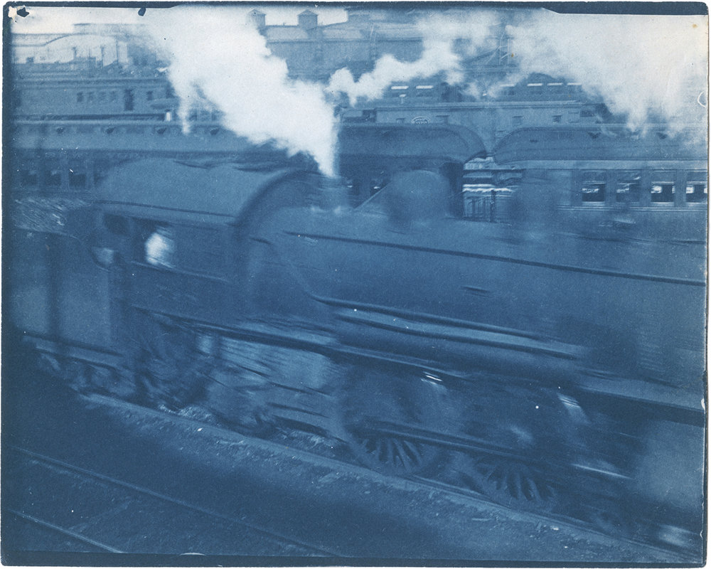 "Frank Bird Masters (1873-1955), Cyantoype, 4X5"" (10,2X12,7cm)between 1904-1910. Taken in the New York Central Railway yards, New York, USA."