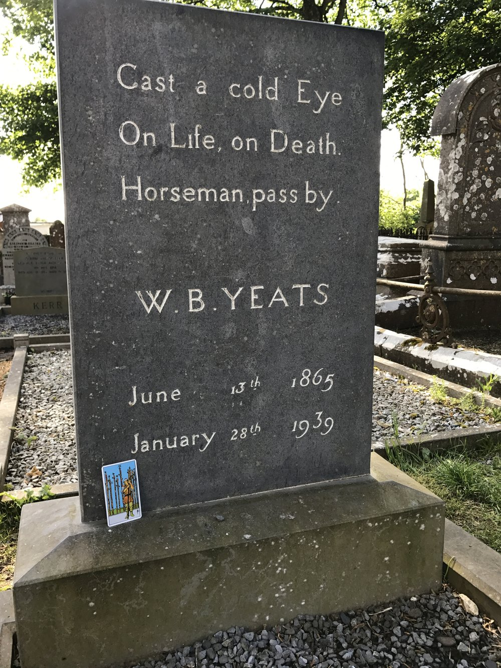 Day Three: Grave of W.B. Yeats. Nine of Wands.