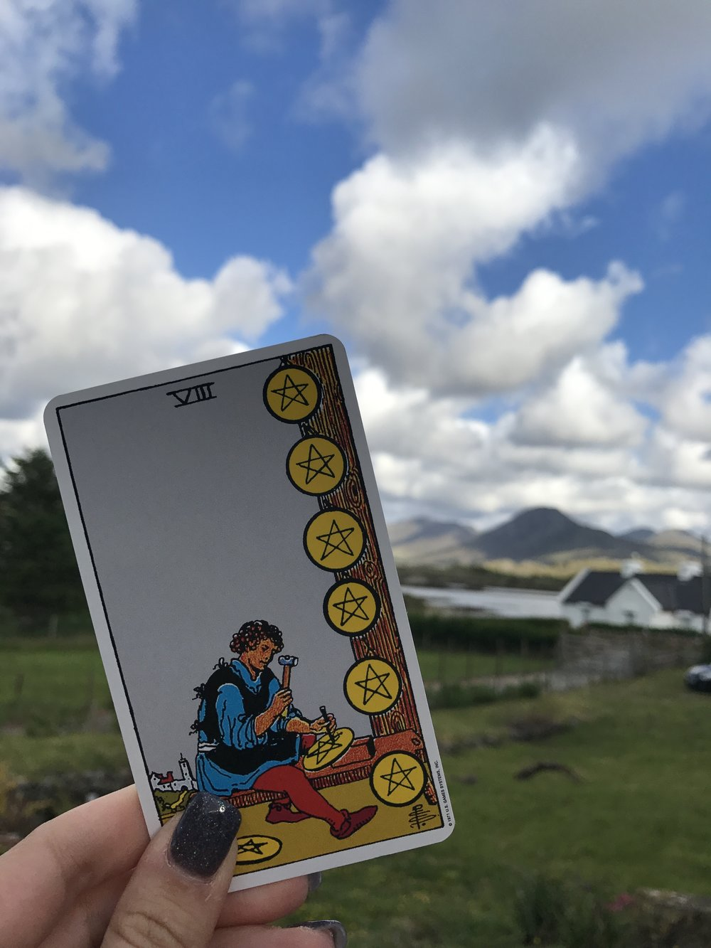 Day Four: Connemara. Eight of Pentacles.