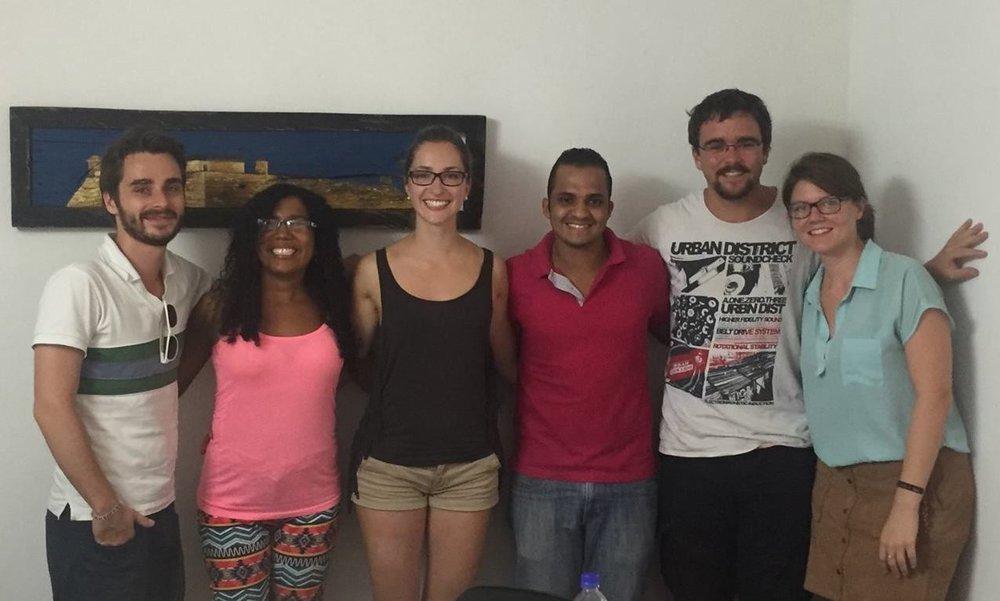 Monika (center) & I with our classmates & teachers at Nueva Lengua.