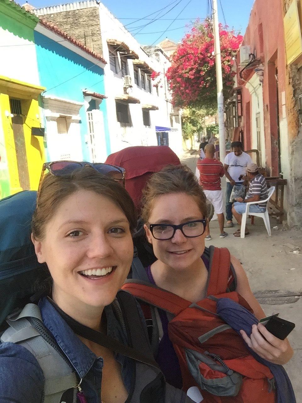 Jolein & I leaving Cartagena for the next destination - Palomino, Santa Marta & the Lost City (La Ciudad Perdida).