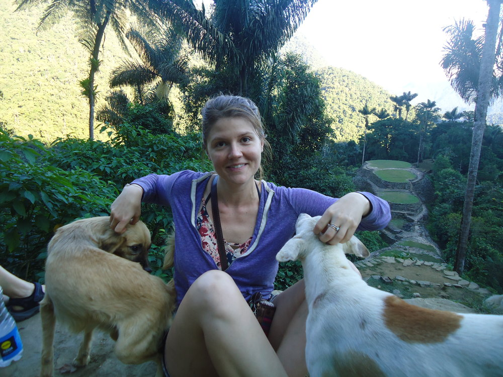 Exhausted & finally at Ciudad Perdida (pictured in the background).