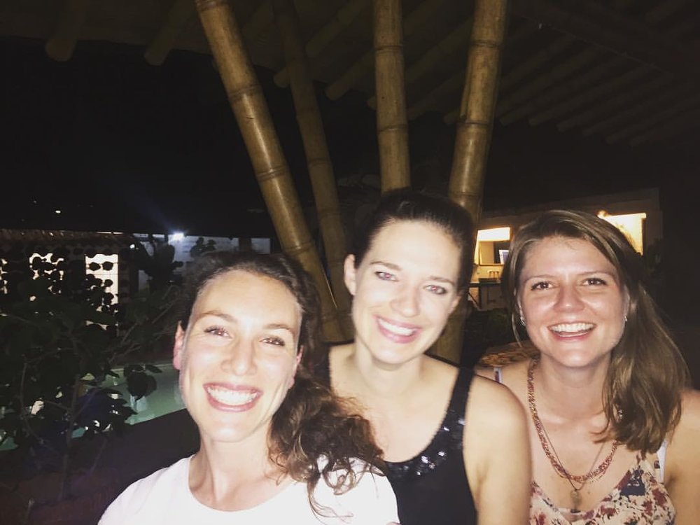 My girlfriends & I at El Viajero hostel, getting ready for a night of salsa.