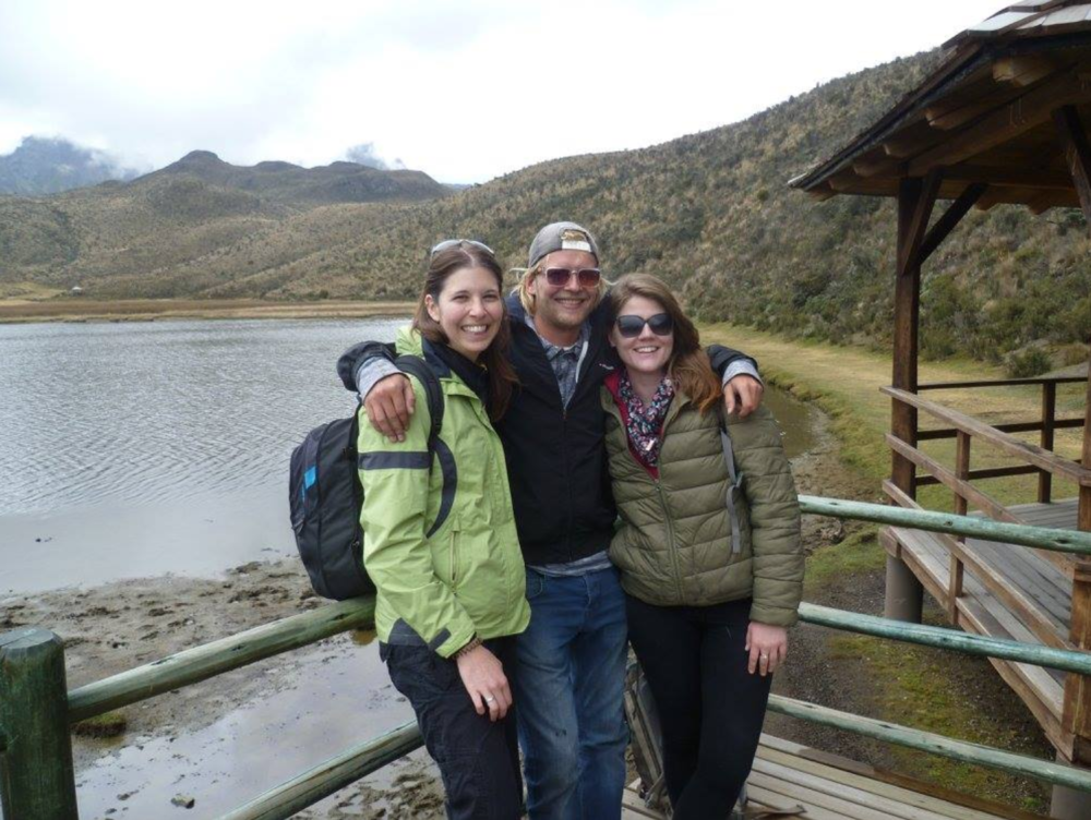 Travel friends on a day excursion to volcano Cotopaxi.