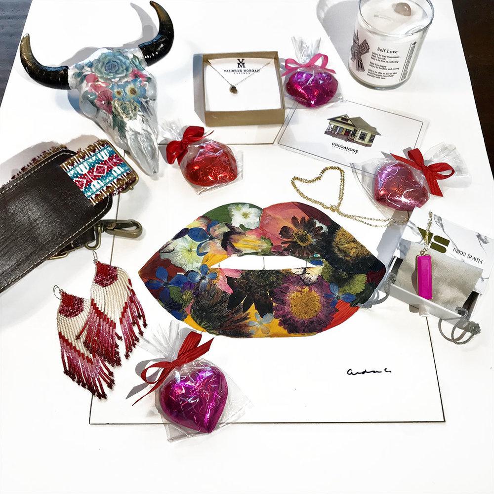 Valentine's giveaway basket by Bear Co., Valerie Morgan Designs, CocoAndré Chocolatier, Nikki Smith Designs, Pressed Flower Crafts, The Sage Soul, The Boho Market & VerverWerks.