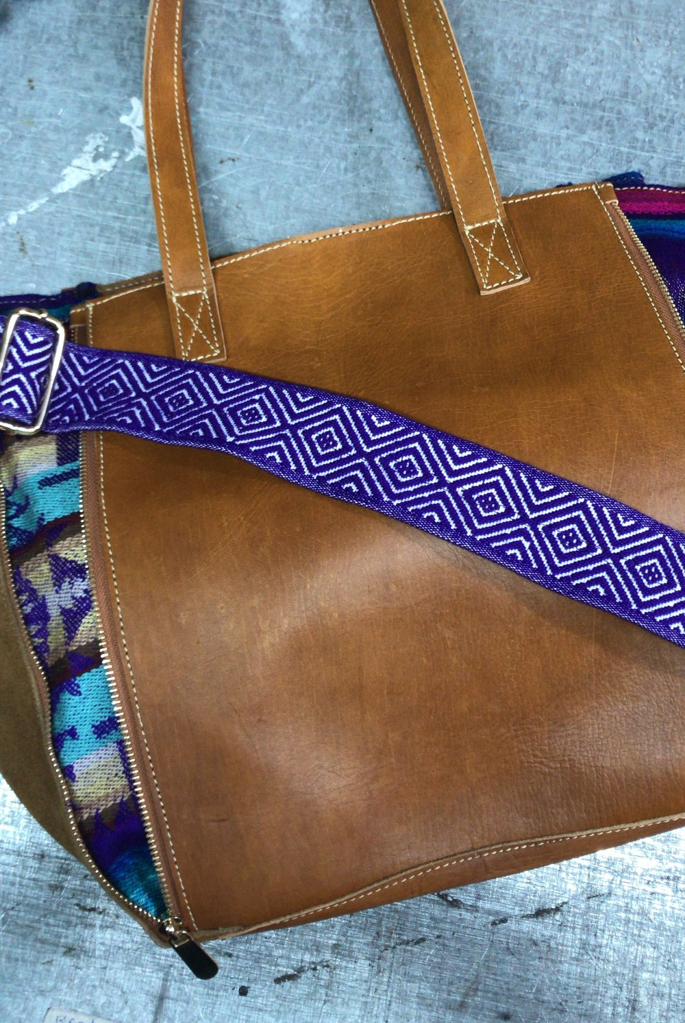 A fun new tote design ~ this bag can be converted into solid leather with the use of a zipper!
