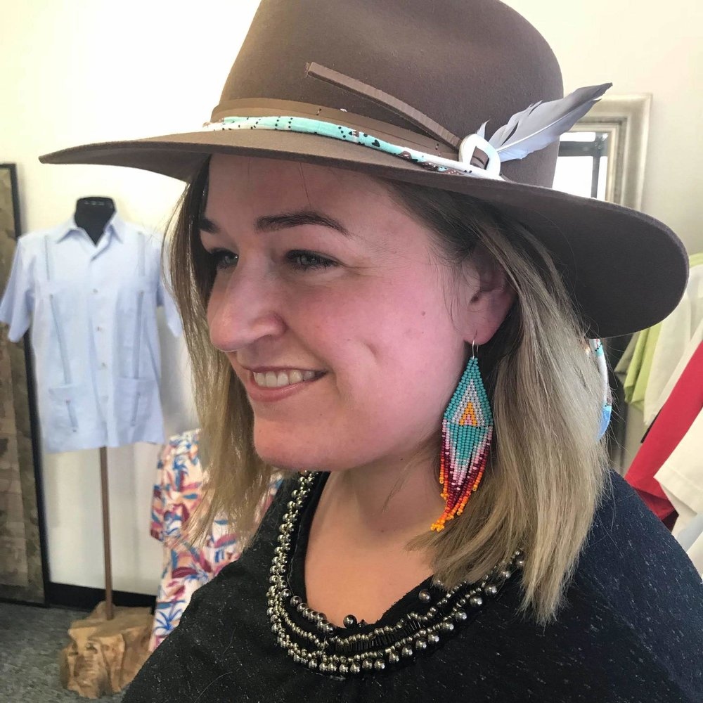 Trying on hats at out friend's, The Guayabera Shirt Store.