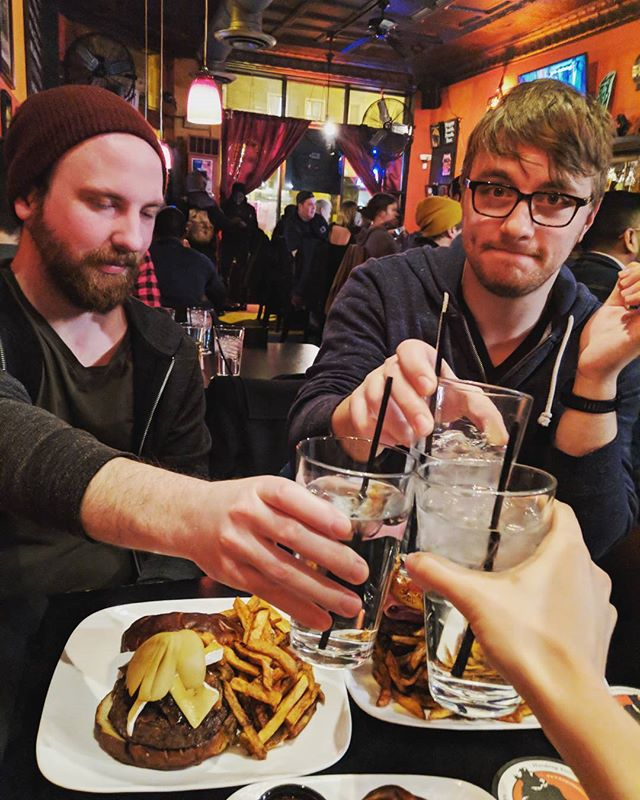 "Discoverer is home! Our show venue in Grand Rapids got flooded so we got in not long ago. Now it is all celebratory burgers at #kumascorner and faces that say, ""I am hungry and I am tired but heck yes this was awesome."" Also we are SO grateful to friends of friends of friends who let us crash last night in Lansing! #discoverermusic #discoverertour #localmusic #chicago"