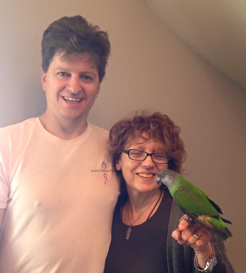 Wally (Senegal) was adopted by a loving mom and dad and gained some parakeet siblings in March 2016!