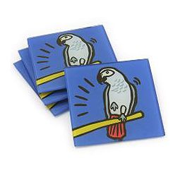 "Trivets, Cutting Boards, Coasters, Canvases and Lazy Susans!   http://www.laurenehuntdesigns.com   are fun and colorful. Mention """"Referred by CT Parrot Rescue in the shipping area under Company (optional)"" section and 10% will be donated to CTPR!"
