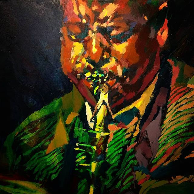 """I am so thankful to have collected this piece of my mentor, friend and STL Jazz legend, Willie Aikens, by @henrykptasiewicz  Willie means so much to my life personally  and my walk as a musician. I dedicated a song to him, """"Apparition"""", on my last record.  Honored to have visual representation of his spirit in my practice space watching and encouraging me to """"just play the good notes"""". ♥️🙏"""